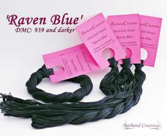 Hand dyed cotton thread  'Raven Blue' by BarbaralCreations on Etsy, €2.50