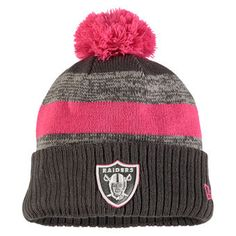 new products 55353 b9640 Men s Oakland Raiders New Era Heather Gray 2016 Breast Cancer Awareness  Sideline Cuffed Pom Knit Hat