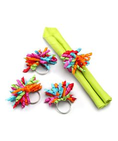 Take a look at this tag Birthday Parties Curly Napkin Rings - Set of Four by tag on #zulily today!