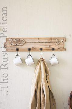Rustic Coat Rack Wood Cup Rack-Metal Arrow by RusticPelican #etsy #vintage