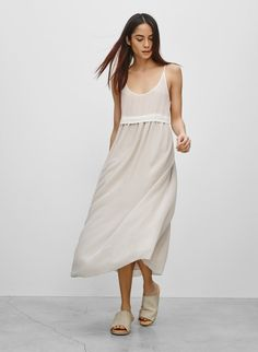 WILFRED BISOUS DRESS - An airy slip dress made with pure silk