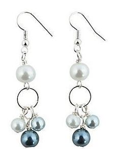Handmade by Me! Pearl Dangle Earrings. Glass. 2 1/4 Grey & white pearls with silver... these will go with so many things! These take so long to make but it is so worth it! They are precious!! (In fact, I had to keep a pair for myself!)