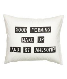 Tekstipainatteinen tyynyliina | Valkoinen | Home | H&M FI
