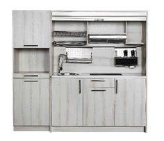 Concealed modular mini kitchen from China-open for shelf configuration view.