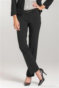 Jordan Straight Leg Pant, Fashionable female corporate uniforms, office uniforms, and career apparel Corporate Uniforms, Office Uniform, Straight Leg Pants, Stretch Fabric, Jordans, Stylish, Career, How To Wear, Black