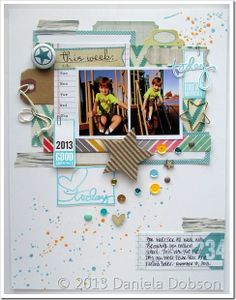 Another GORGEOUS scrapbook page by Daniela Dobson! Love the stamped tab! She made it with the Great Memory by Ali Edwards stamp set (available from TechniqueTuesday.com)!