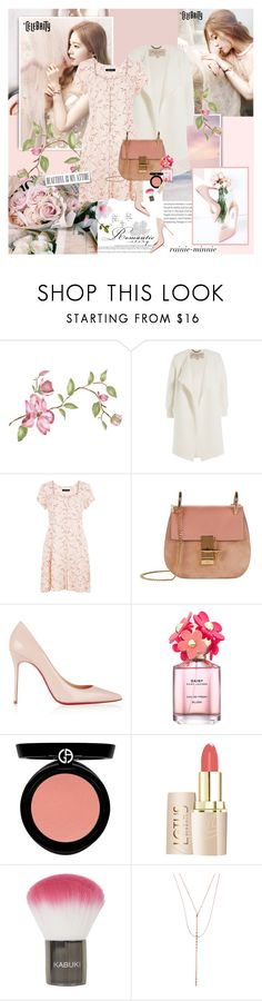 """""""Romantic Story"""" by rainie-minnie ❤ liked on Polyvore featuring Oris, Seed Design, Burberry, New Look, Chloé, Christian Louboutin, Marc Jacobs, Armani Beauty, Topshop and Lana"""