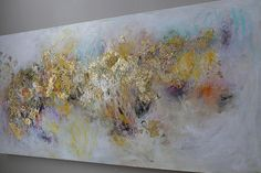 Gold abstract painting origina painting abstract by artbyoak1 48x24. 375.00