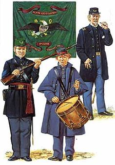 Left to Middle-- 35th IN & 9th MA Infantry  Irish (Union) Regiment--American Civil War
