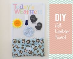 A tutorial on a super simple DIY Felt Weather Board with amazingly cute shapes. Free printable weather shapes included. Not crafty? No problem, check out our link to Etsy felt artistes too!