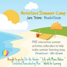 Neverland Summer Camp for Preschool & Kindergarten June Calendar- Beach/Ocean | Stir The Wonder