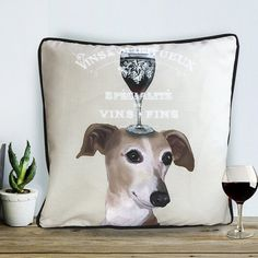 Greyhound gift for wine lover gift Greyhound by FabFunkyPillows