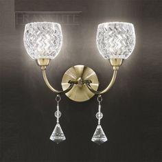 The Franklite Lighting Sherrie Wall Light is in a Bronze finish with small cut glasses and faceted crystal drops. The Sherrie Double Wall Light is available from Luxury Lighting - approved Franklite retailers. Indoor Wall Lights, Modern Wall Lights, Ceiling Lights, Crystal Wall, Crystal Decor, Faceted Crystal, Luxury Lighting, Lighting Store, Wall Light With Switch