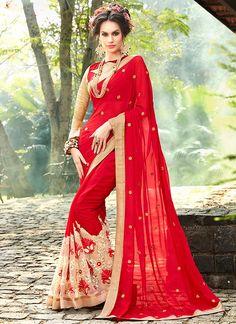 Buy Haute Faux Georgette Patch Border Work Saree  #sarees #saree #sari #designersaree #sareebuzzlove #sareebuzz #weddingsarees #weddingfashion