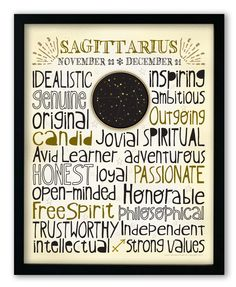 Designed with a snug-fit full page of typography, this print highlights the positive traits that are commonly associated with each astrological sign. A unique medallion in the center features a starry