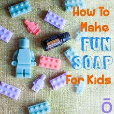 Make fun kids soap with doTerra essential oils Essential Oils For Kids, Essential Oils Soap, Homemade Soap For Kids, Lego Soap, Kids Makeup, Soap Recipes, Doterra Recipes, Cleaning Recipes, Cleaning Diy
