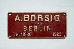 A.Borsig Steel Plate Sign via Fundação Museu Nacional Ferroviário FMNF (PT) - Railway/Train National Museum