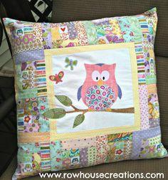 Zoe Owl Modern Log Cabin Quilt Block Pillow