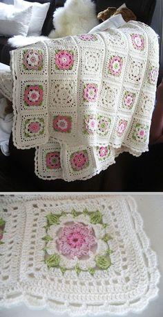 Stricken Baby :Inspiration :: Delicate & pretty afghan, motif pattern from German book.motifli örgüler - My WordPress WebsiteWe have gathered a big list of crochet Projects that will really inspire you to make crochet Squares patterns with crocheting ho Crochet Motifs, Crochet Quilt, Granny Square Crochet Pattern, Crochet Squares, Crochet Blanket Patterns, Baby Blanket Crochet, Crochet Stitches, Crochet Baby, Knitting Patterns