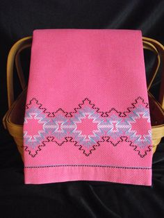 Vintage Swedish Weave Pink Huck Toweling Hand Towel