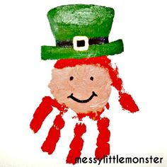 Messy Little Monster: Handprint Leprechaun: St Patricks Day Craft