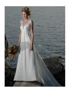 Abiti da Sposa Spiaggia-Una linea di abiti da sposa spiaggia scollo a v treno chiffon