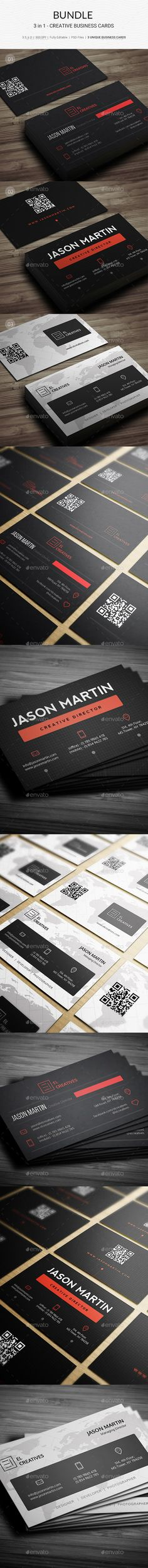Bundle - 3 in 1 - Corporate Business Card Templates PSD - Download here: https://graphicriver.net/item/bundle-3-in-1-corporate-business-cards-174/21840668?ref=ksioks