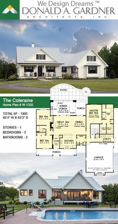This traditional charmer house plan welcomes with its country porch and prominent gables with decorative brackets. A cathedral ceiling spans the open great and dining rooms of this house plan, with…More Garage House Plans, Ranch House Plans, Craftsman House Plans, Country House Plans, New House Plans, Dream House Plans, Small House Plans, Country Homes, House Plans With Porches