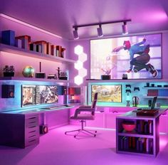 Computer Gaming Room, Gaming Room Setup, Computer Setup, Gaming Rooms, Gamer Setup, Office Setup, Pc Setup, Office Workspace, Game Room Decor
