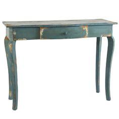 Consola estilo vintage decapada en madera con acabado envejecido con pintura en color azul. Un mueble auxiliar ideal para una decoración de estilo industrial