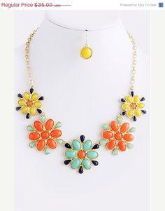 SHOP SALE Multi Color Flower Bib Necklace  by GraysRoom on Etsy, $31.50
