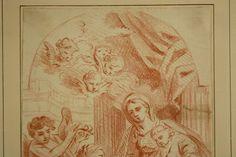 Altmeister Zeichnung Frankreich 1650 Maria mit dem Jesuskind Sanguine Old Master in Antiquitäten & Kunst, Malerei, Gemälde vor 1700   eBay