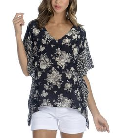 Another great find on #zulily! Black & White Floral Geometric Silk Caftan Sidetail Tunic #zulilyfinds
