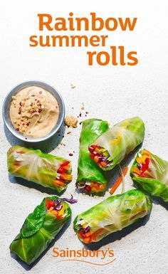 Roll these up for an impressive sharing platter, or prep ahead for a fresh and crunchy lunchbox. The creamy satay sauce can be as spicy as you like it, so add tabasco to taste Raw Food Recipes, Vegetarian Recipes, Cooking Recipes, Healthy Recipes, Scd Recipes, Vegetarian Dinners, Sainsburys Recipes, Clean Eating, Healthy Eating