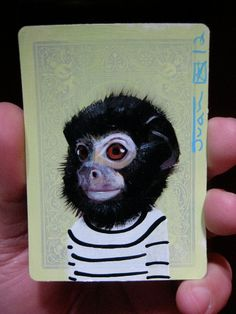 Red handed Tamarin  Portrait N1 on a playing cards by JuanStar2, $25.00