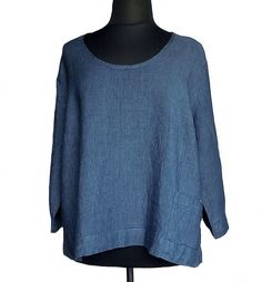 FLAX Designs Neutral Two Pocketed Crop Top Denim Blue Linen 3G 3X NWOT #FLAX #CropTop #Casual