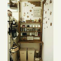cocotteさんの、机,マグカップ,DIY,ニトリ,salut!,見せる収納,カフェコーナー,いなざうるす屋さん,ディアウォール,BRUNO,niko and… ,折りたたみ式テーブル,SandyCandleKit,のお部屋写真