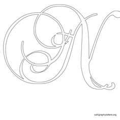 Calligraphy Letter Stencil N