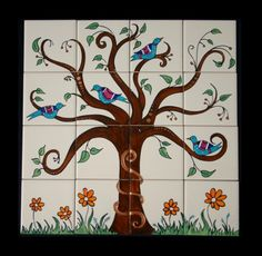Handpainted ceramic tile mural - I can see myself making one for the kitchen!