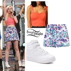 Perrie Edwards performed on Good Morning America the other morning with her bandmates wearing a coral bralet, similar to a Boohoo Shelli Jersey Bralet ($12.00), a pair of Monki Liv Shorts (£12.00) and a pair of Reebok Freestyle Hi Sneakers ($64.99).