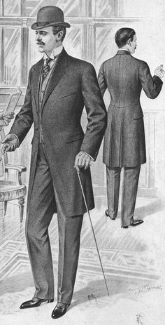 Frock coat- Typically worn by middle class business men.It is a long-sleeved, double breasted coat that fell long on the body. Vintage Gentleman, Gentleman Style, Vintage Men, Vintage Clip, Morning Coat, Morning Suits, Frock Coat, Vintage Outfits, Vintage Fashion