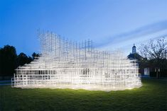 Sou Fujimotos Giant Serpentine Pavilion Converted into a Storm of LED Lightning by UVA