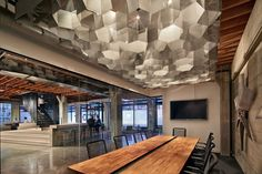 Architecture, Breathtaking Honeycomb Pattern Ceiling Plus Wooden Top Dining Table Design And Contemporary Interior Architecture Present Metal Barstools Commercial Design, Commercial Interiors, Industrial Office Space, Industrial Design, Workspace Design, Office Lighting, Co Working, Restaurants, Design Furniture