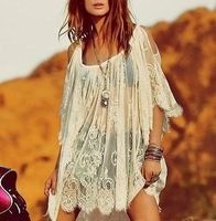 2014 nuevas mujeres del verano vestido de encaje de ganchillo Semi transparente Jen de botín del pirata correas de hombro Vestidos Casual Vestidos envío gratis