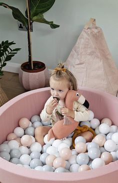 Your little one will want to take this adorable Flamingo everywhere!Also available in a sweet Grey Rabbit, Pink Elephant and Grey Elephant. Ball Pit Grey, Ball Pit Pink, Pram Toys, Rainbow Logo, Doll Beds, Victorian Dolls, Grey Elephant, Nursery Wallpaper, Nursery Inspiration