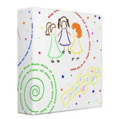 girlie girl binder  Cute design for little girls with images of swings, jump roping, ring around the Rosie and hopscotch. also features swirling lyrics from some of those cute little rhymes we sang on the playground! perfect for scrap-booking the life of a little girl you love! ....dressed in yellow went upstairs to kiss a fellow make a mistake and kissed a snake how many doctors will it take 1...2...3 ring around the rosie pocket full of posies ashes ashes we all fall down Miss Mary Mack…