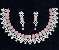 Baby Pink American Diamond Wedding jewelry in Silver Finish Indian Jewelry Sets, Pink Jewelry, Jewelry Art, Jewelery, Pink Necklace, Pink Earrings, Necklace Set, Wedding Jewellery Designs, Wedding Jewelry