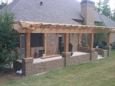 Pergola and hip wall on existing concrete patio base. Would be easy to add to our current patio area. Pergola Metal, Hot Tub Pergola, Curved Pergola, Steel Pergola, Pergola Swing, Deck With Pergola, Cheap Pergola, Wooden Pergola, Covered Pergola