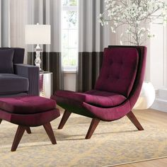 Jaco Lounge Chair Ottoman Jaco Velvet Lounge Chair and Ottoman Chair And Ottoman, Lounge Chair, Upholstered Seating, Velvet Chaise Lounge, Chair, Furniture, Lounge, Willa Arlo Interiors, Accent Chairs