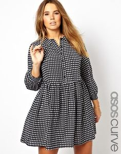 Image 1 of ASOS CURVE Smock Dress In Check